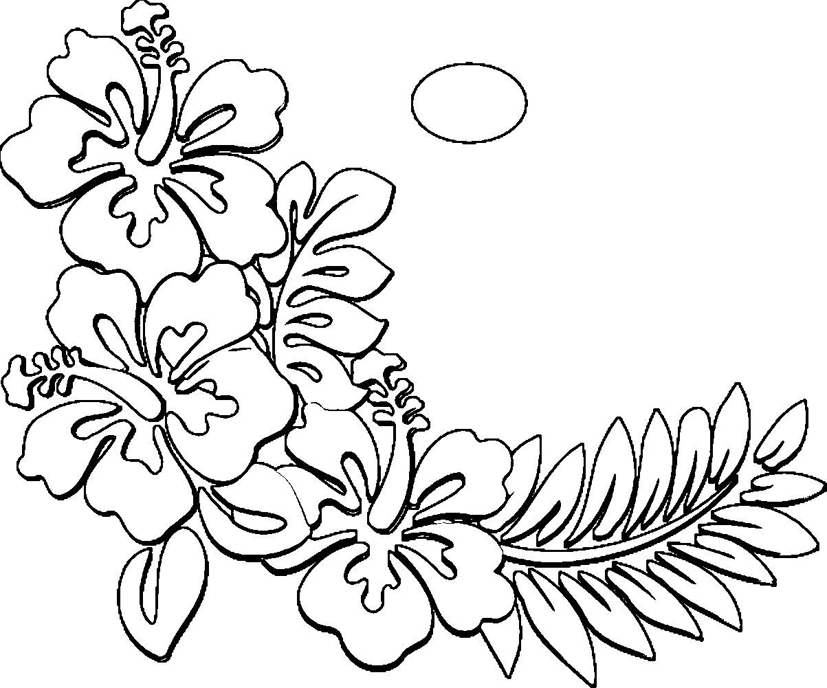 1203x1001 Awesome Hawaiian Flower Coloring Pages Collection Printable