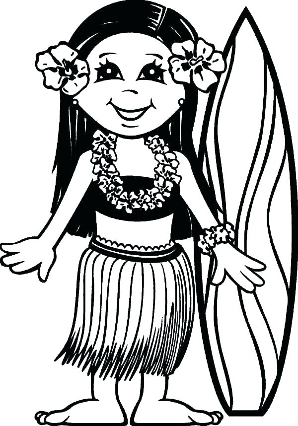 600x858 Hawaii Coloring Page Coloring Book As Well As Coloring Page Surfer