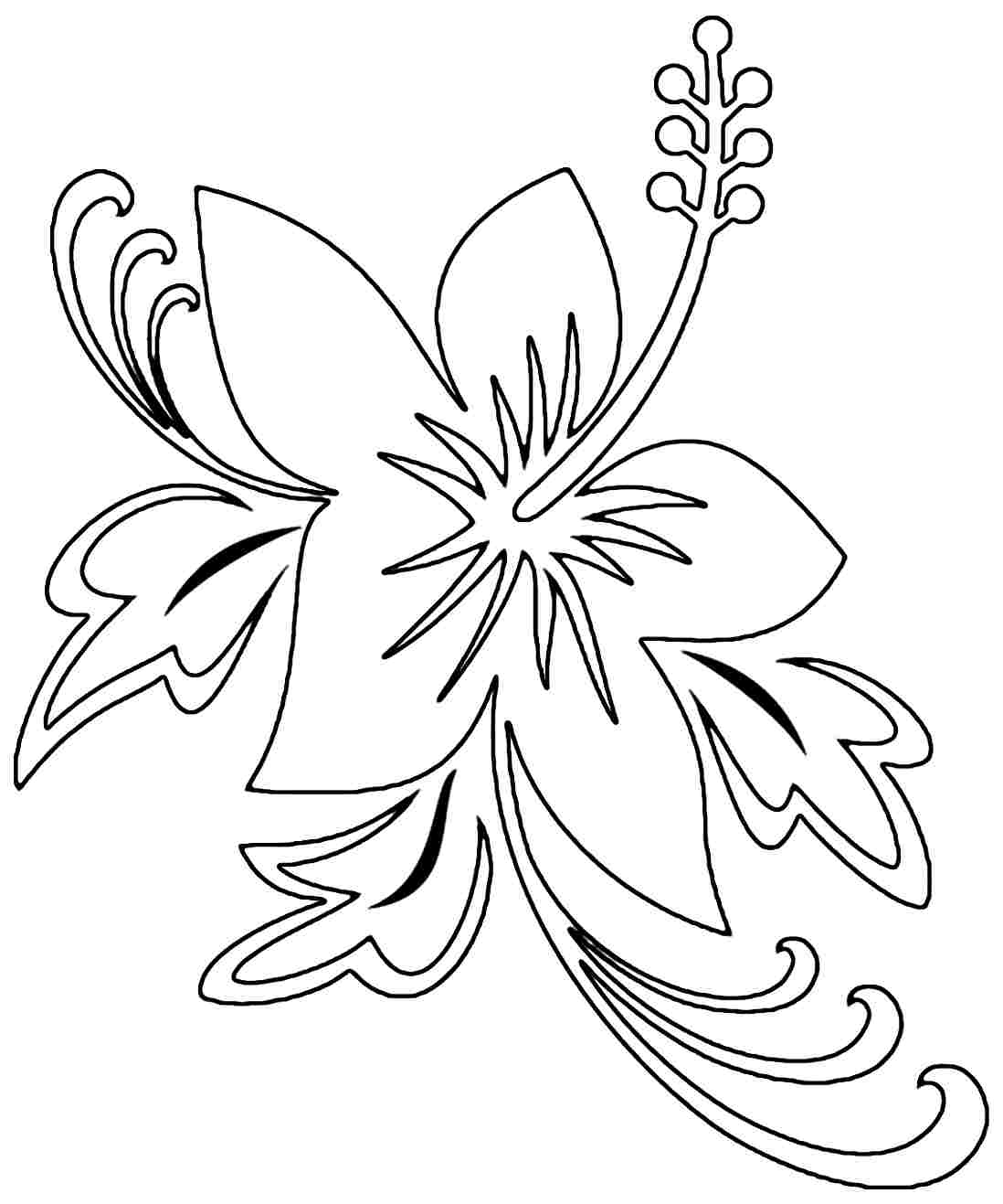 1098x1317 Printable Hibiscus Coloring Pages For Kids Hawaiian Flower