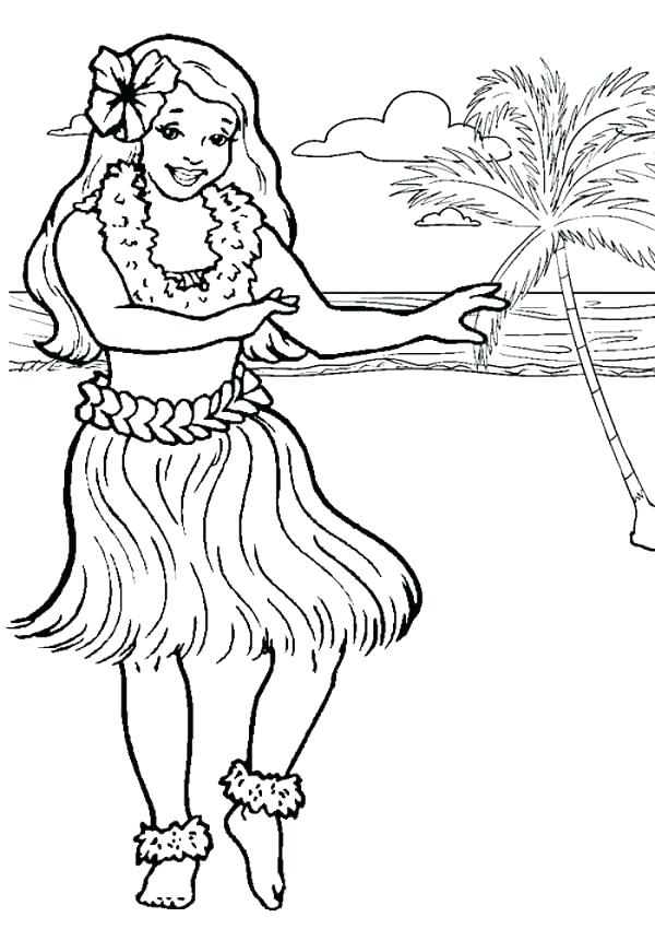 600x850 Hawaiian Flower Coloring Pages Packed With Hula Dancer Page