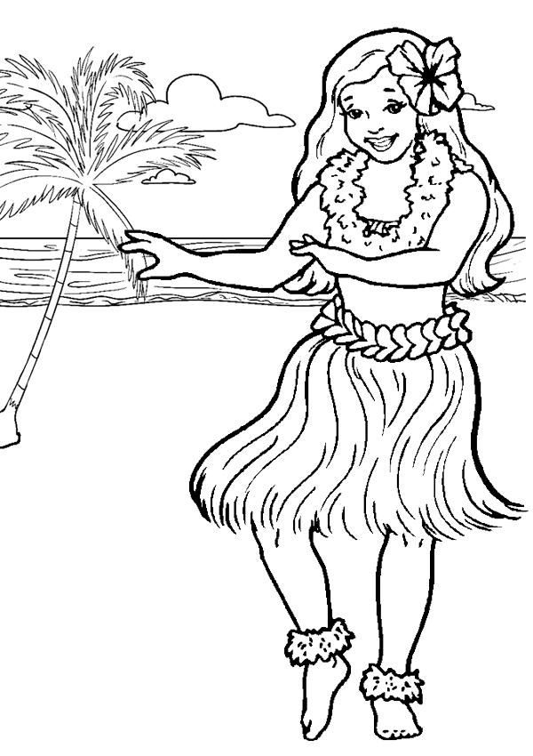 600x850 Hula Girl Coloring Page