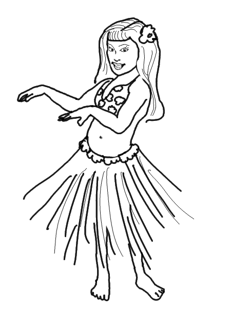 450x613 Hula Girl Dancers Coloring Pages