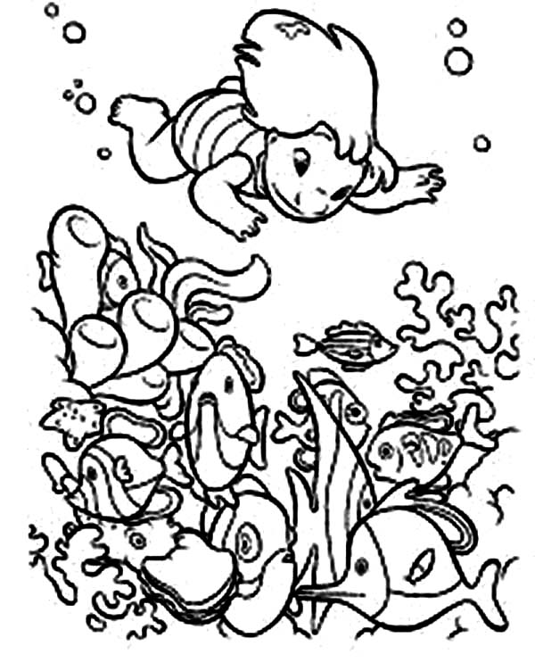 600x743 Lilo Diving In Hawaiian Reefs In Lilo Stitch Coloring Page
