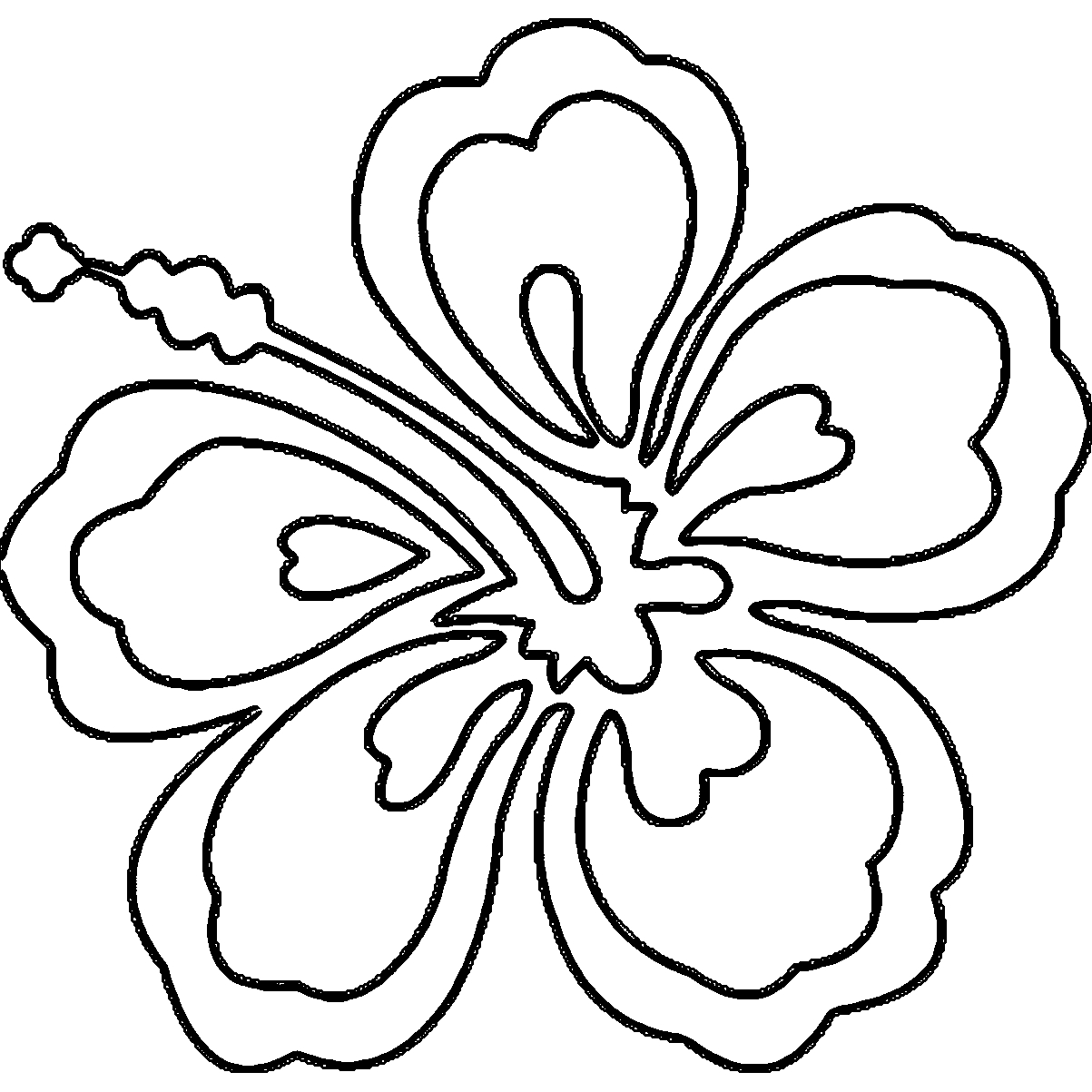 1203x1203 Awesome Hawaiian Flower Coloring Pages Collection Printable