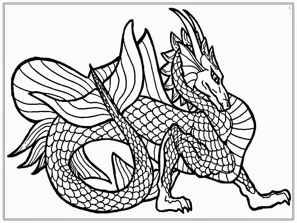 1024x768 Hd Realistic Dragon Coloring Pages Images