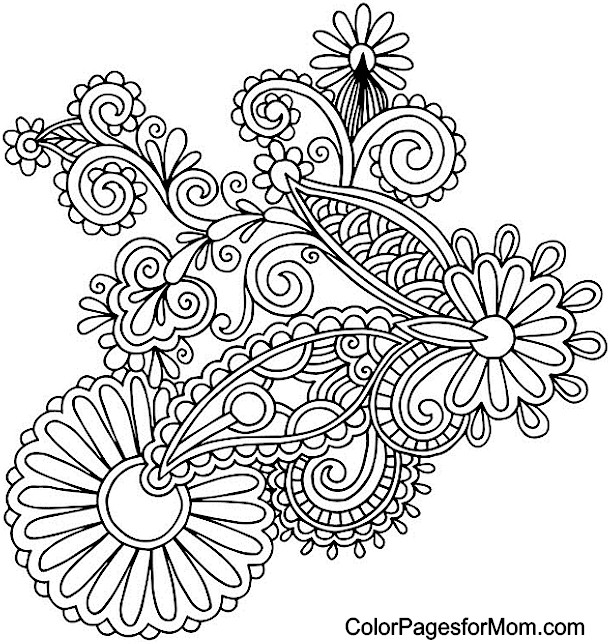 610x644 Paisley Print Coloring Pages Adult