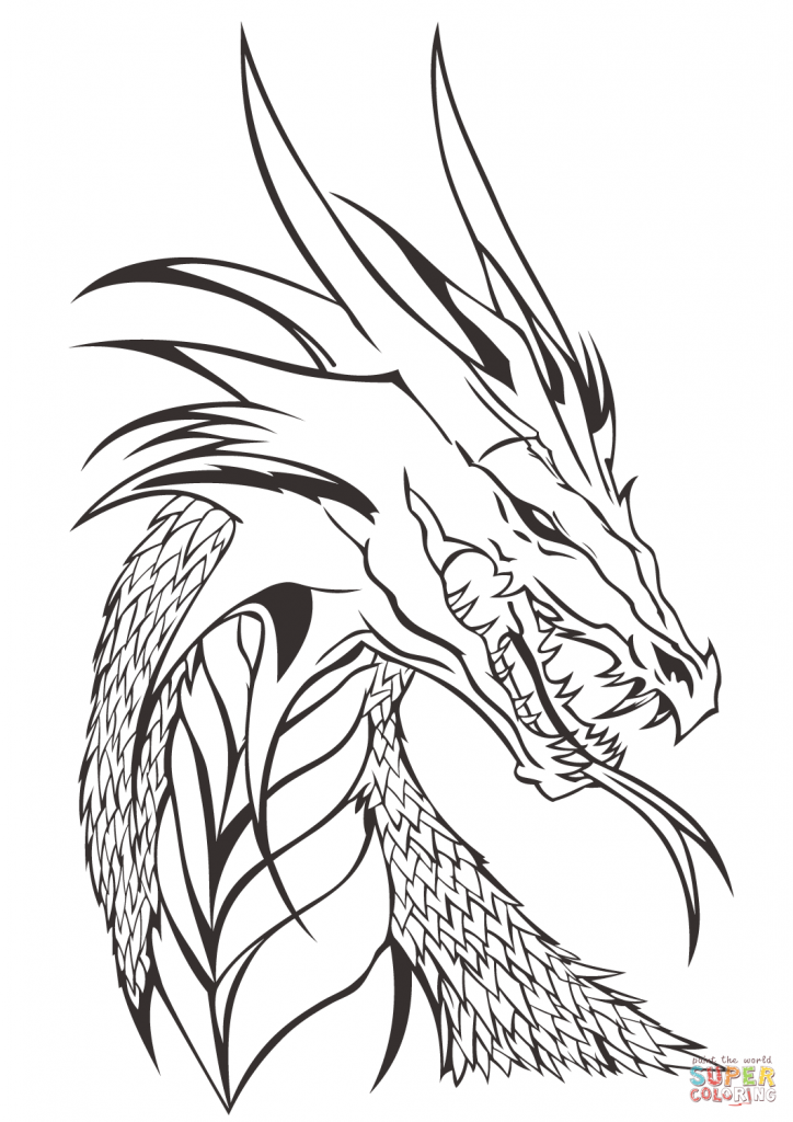 724x1024 Dragon Head Coloring Page