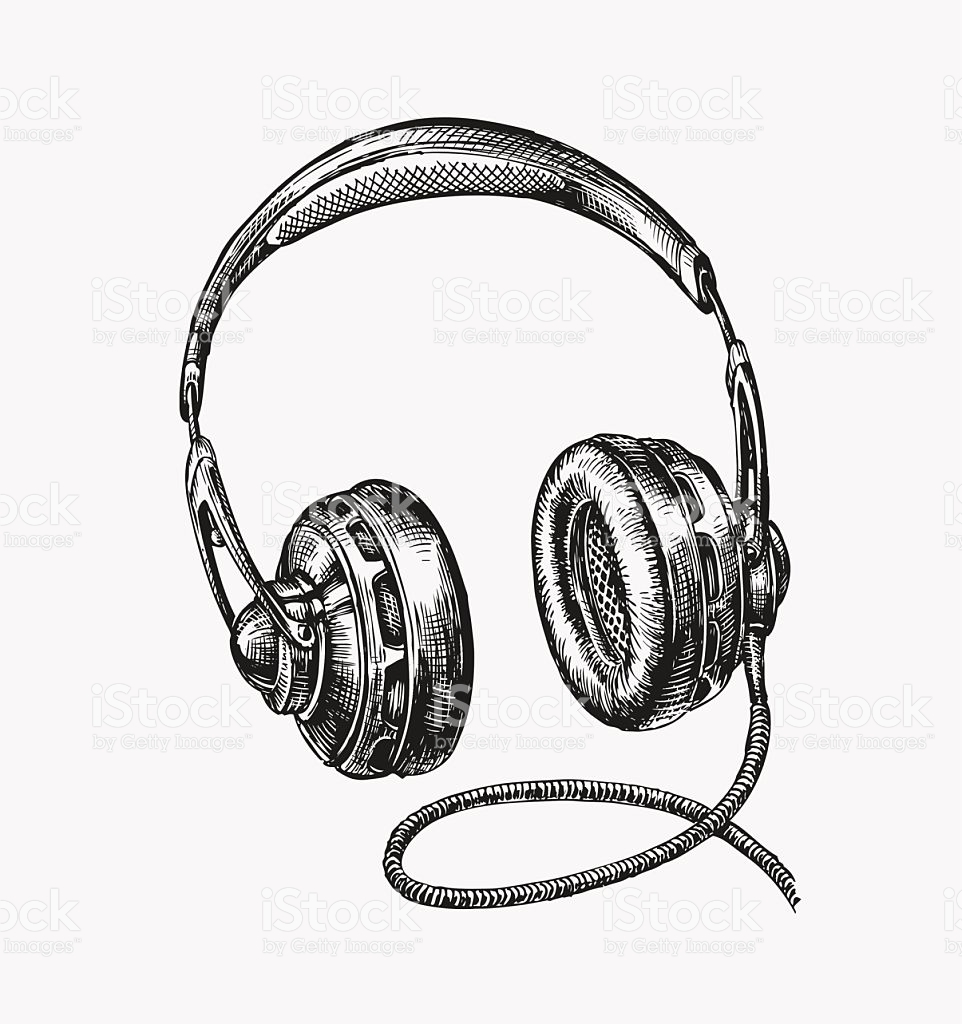 962x1024 Drawn Headphone Graphic
