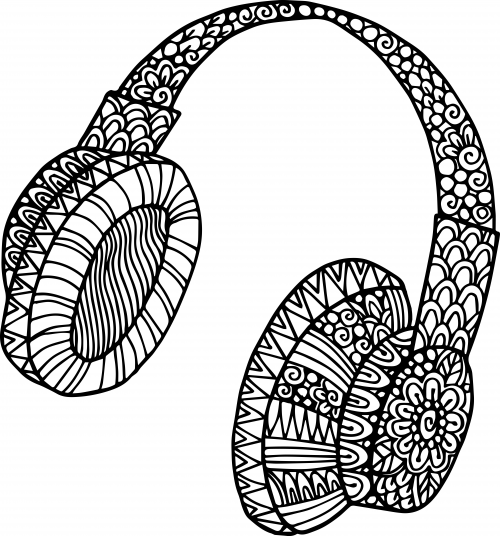 500x536 Headphone Doodle Coloring Headphones, Doodles And Doodle Coloring