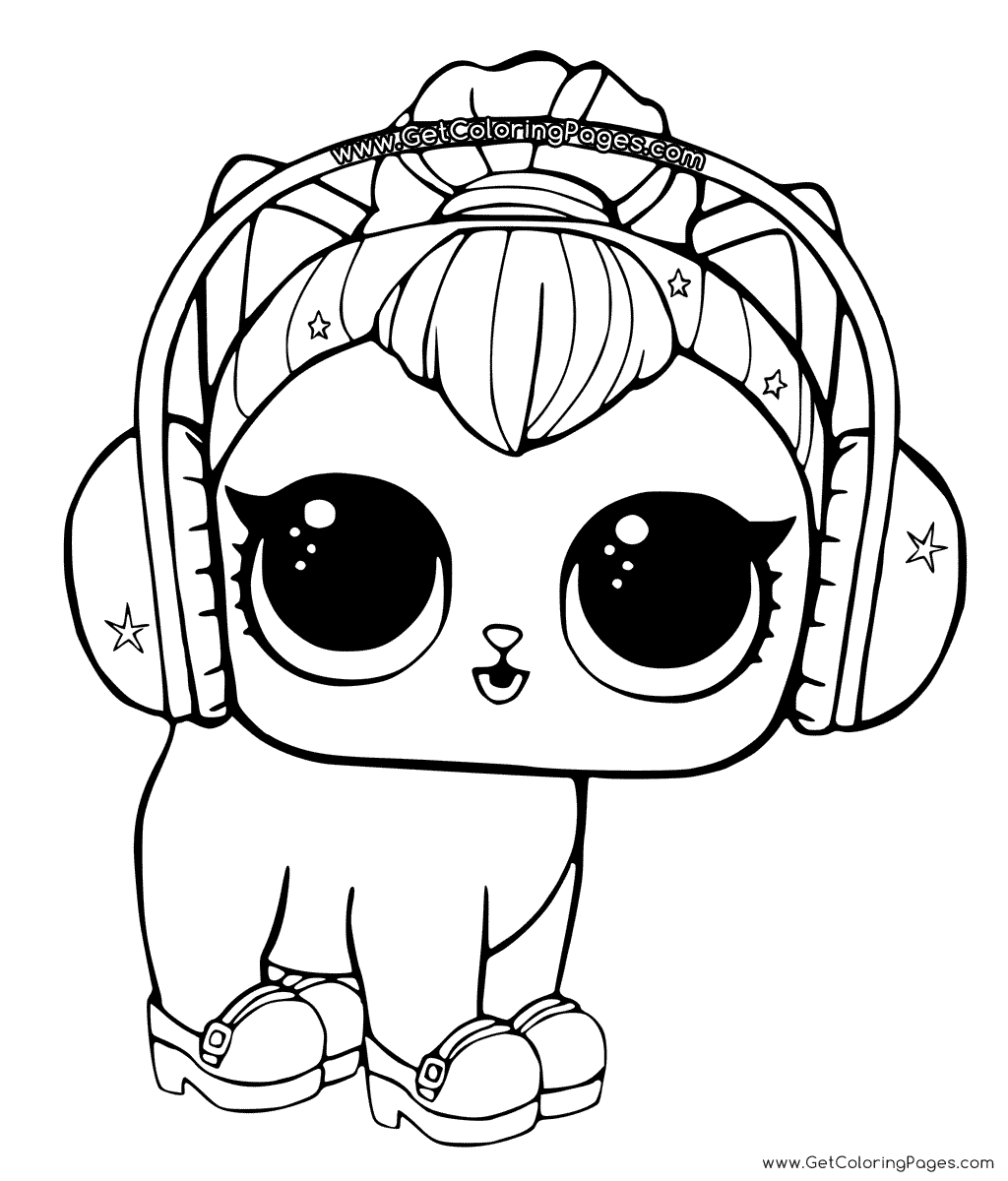 1024x1200 Lol Surprise Coloring Page Kitty Kitty In Headphones