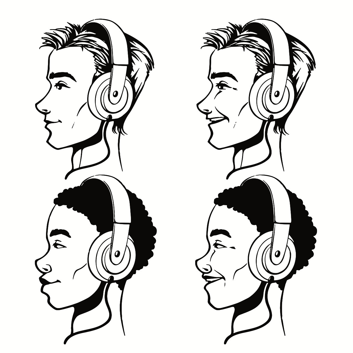 1235x1235 Men With Headphones Printable Image Illustration Sketch For Men