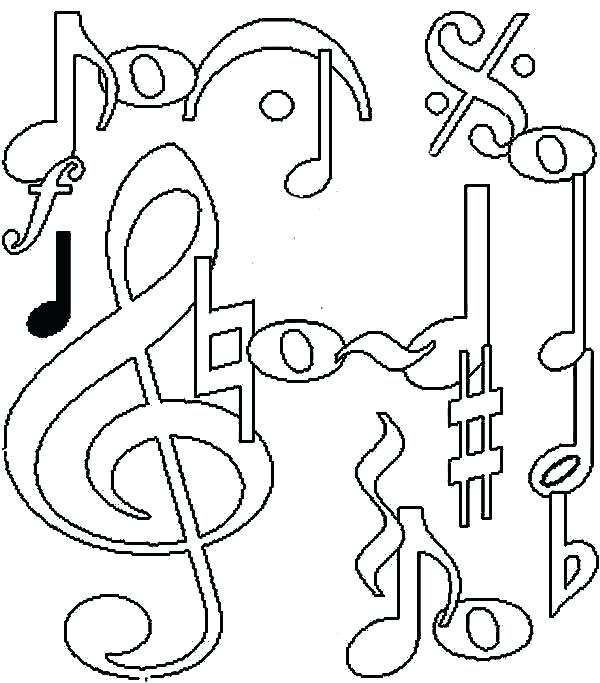 600x683 Music Notes Coloring Pages Headphones Music Notes Colorful
