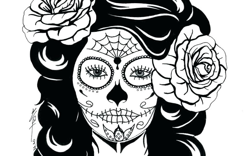 800x500 Skull Coloring Pages Sugar Skull Headphones Coloring Page