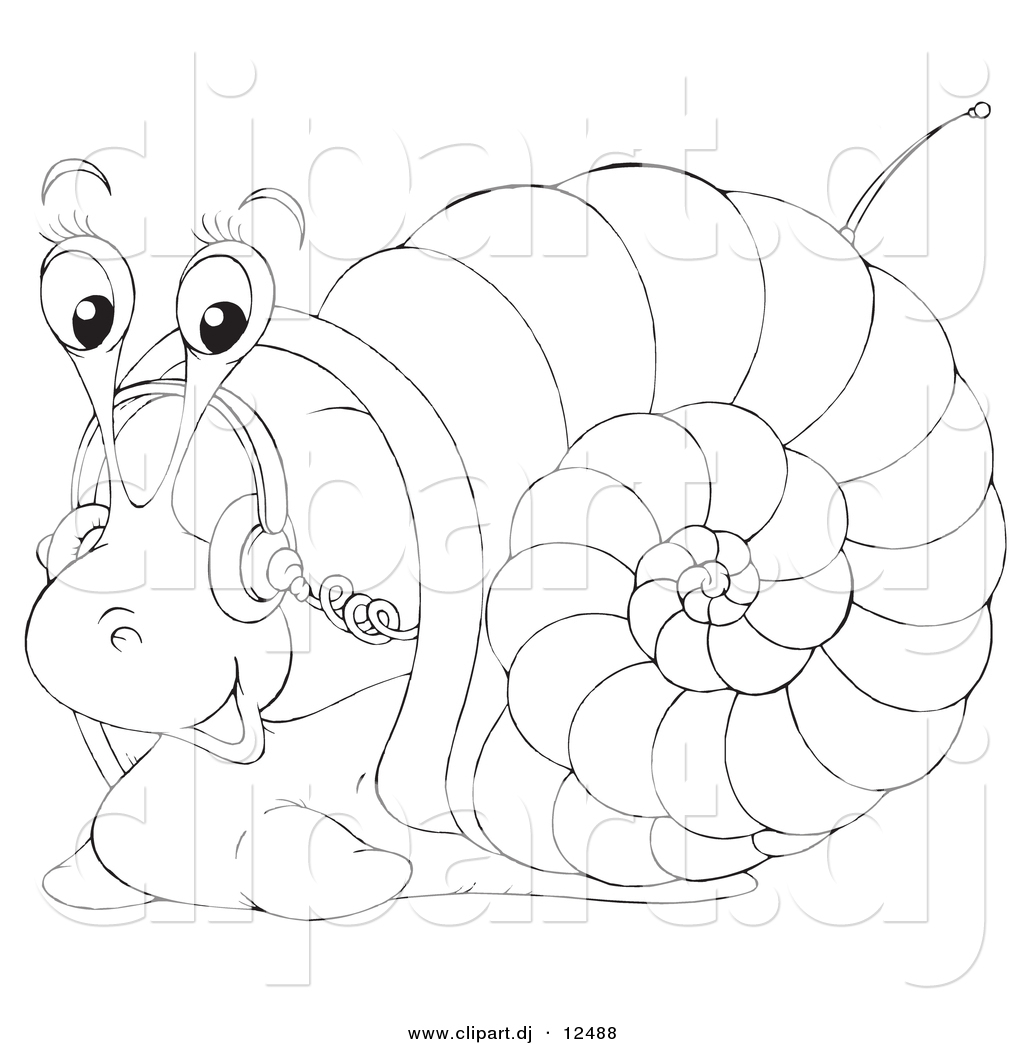 1024x1044 Vector Clipart Of A Cartoon Snail Listening To Music