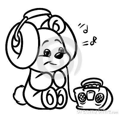 400x386 Bear Music Fan Headphones Player Coloring Pages Coloring Page
