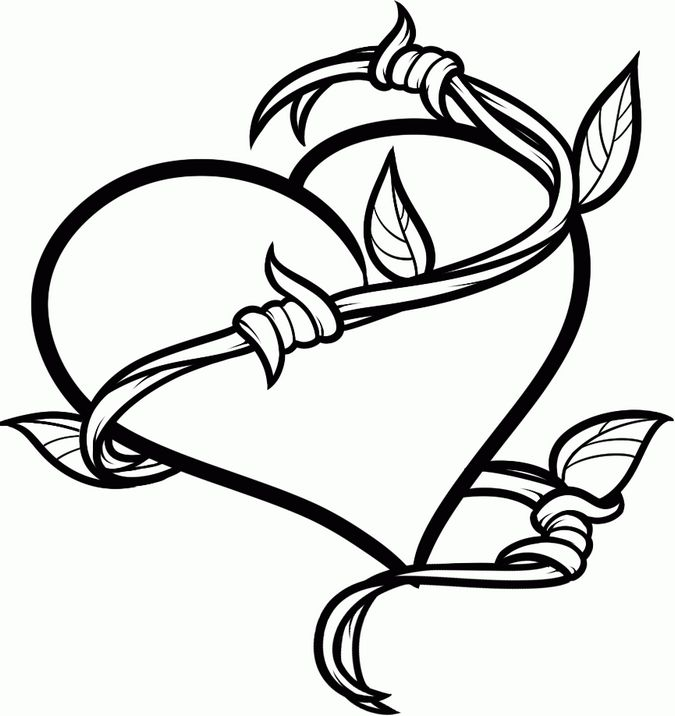 675x716 Hearts Tattoos Coloring Pages