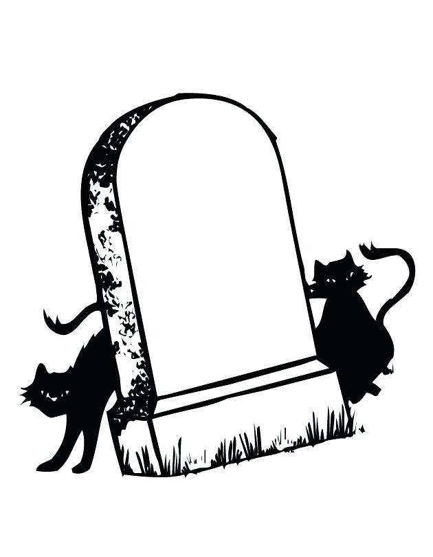 630x810 Printable Tombstone Images And Cats Coloring Page
