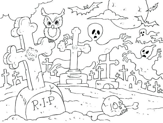 533x400 Graveyard Coloring Pages Free Tombstone Coloring Pages