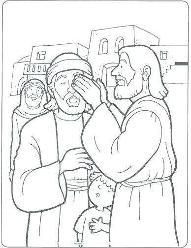 388x504 Jesus Heals Blind Bartimaeus Coloring Page Educational Coloring