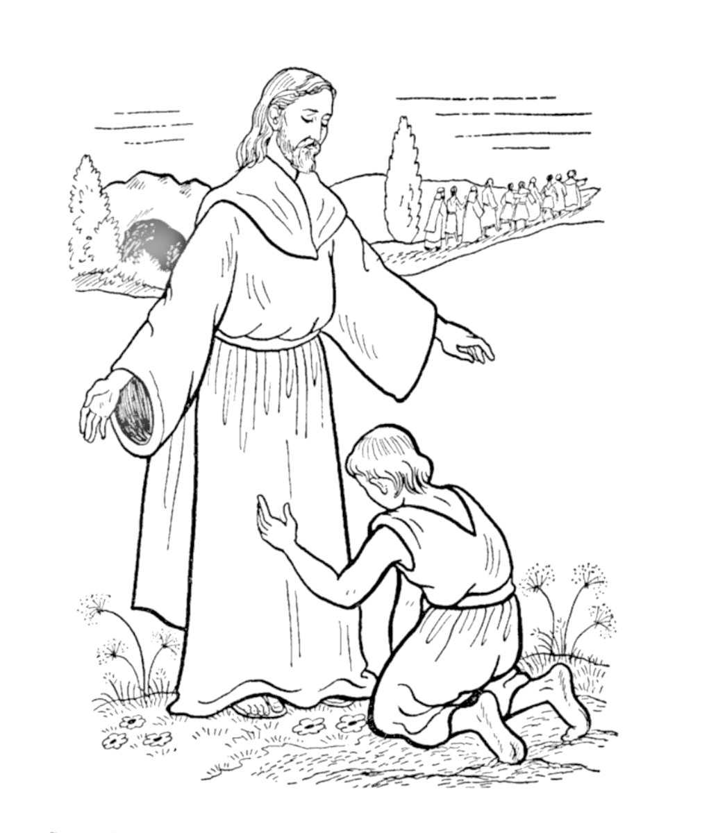 1021x1200 Jesus Heals Ten Lepers Coloring Page