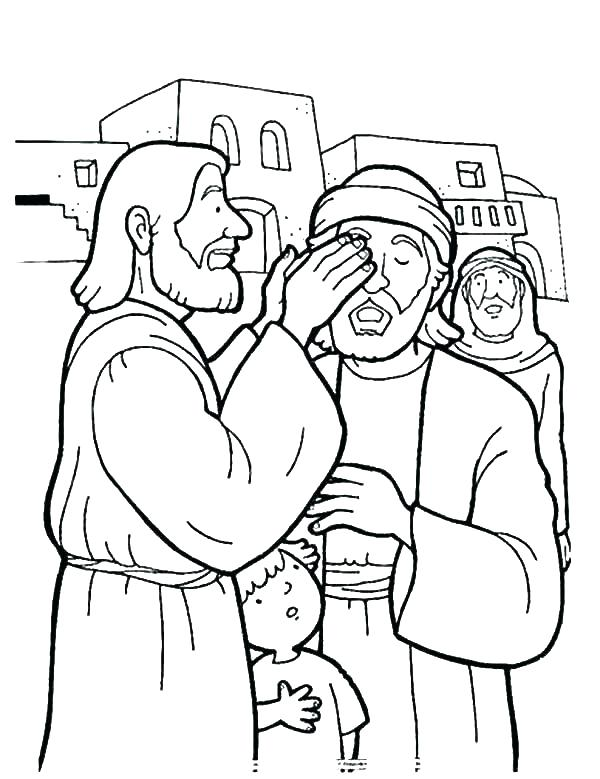 600x779 Jesus Heals The Blind Man Coloring Page Story Healing The Blind