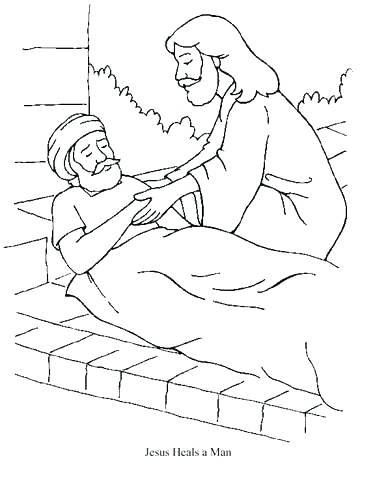 375x480 Jesus Heals The Paralytic Coloring Page Heals The Lame Man