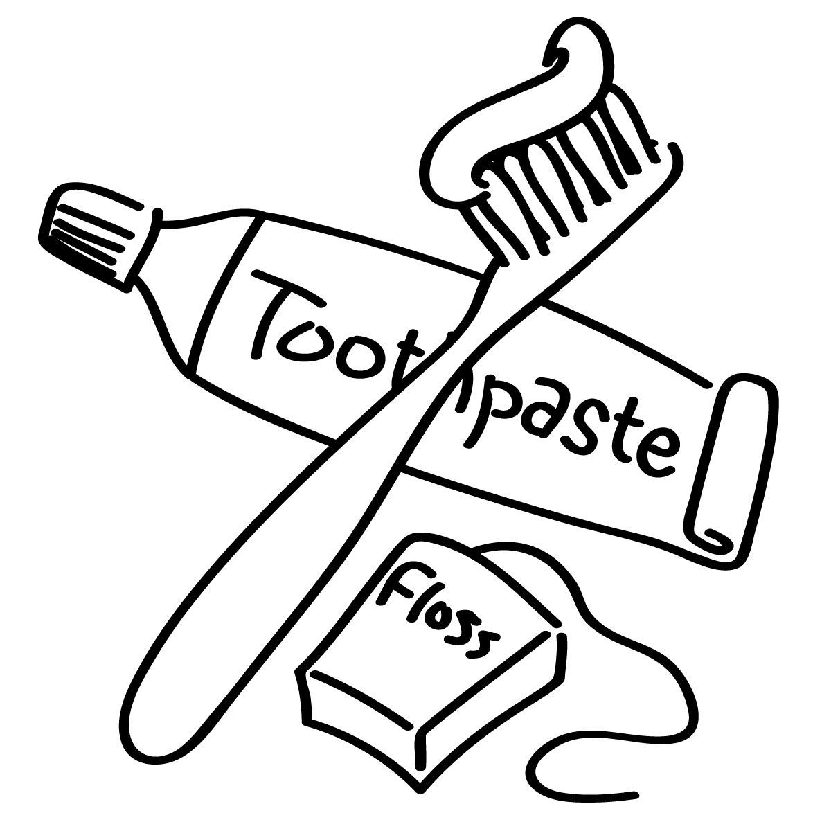 1200x1200 Awesome Toothbrush Clipart Coloring Page Pencil And In Color