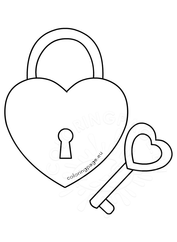 Heart And Key Coloring Pages