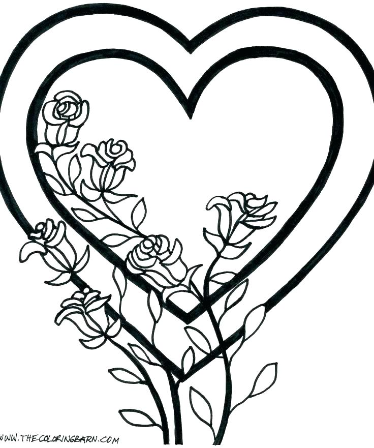 736x881 Heart Color Page Full Size Of Coloring Coloring Roses Pages