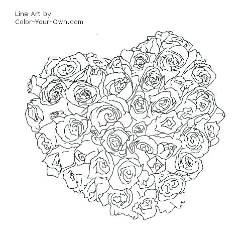 500x500 Heart Color Page Hearts And Roses Coloring Pages Good Roses