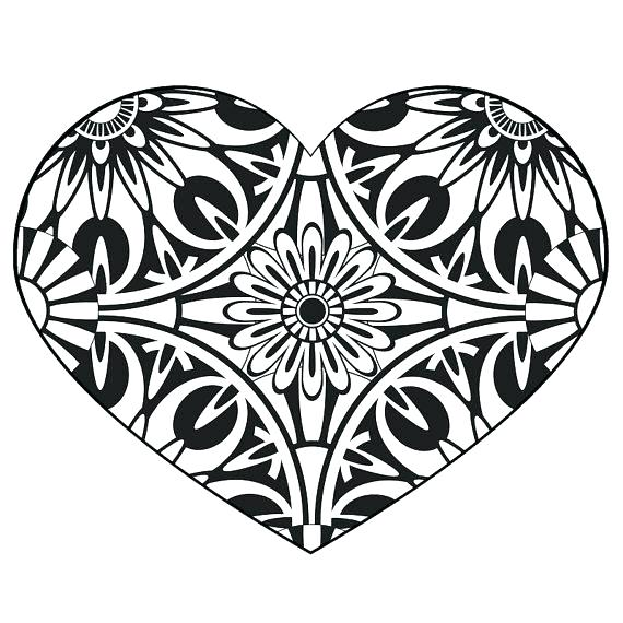 570x570 Heart Color Page Printable Heart Coloring Pages Adult Mandala
