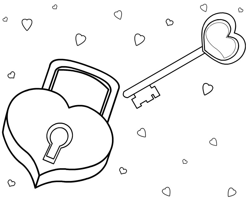 800x650 I Love Coloring Picture Love Coloring Pages Padlock And Key
