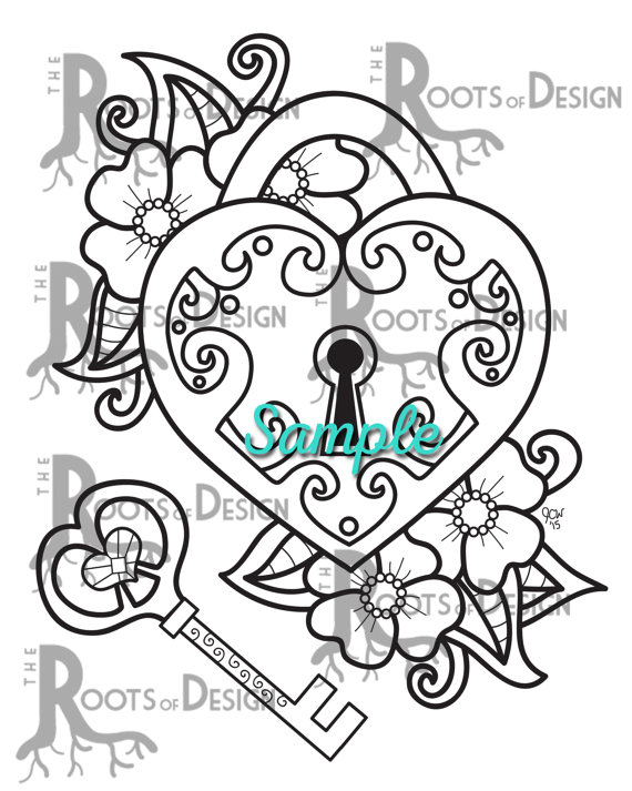 570x713 Instant Download Coloring Page Key To My Heart Doodle Art