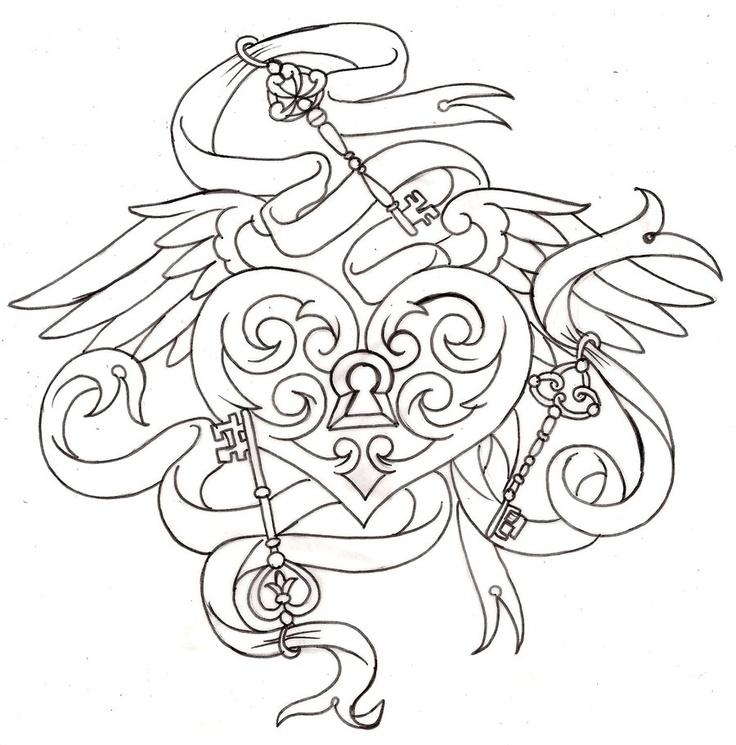 736x745 Key To My Heart Locket Tattoo