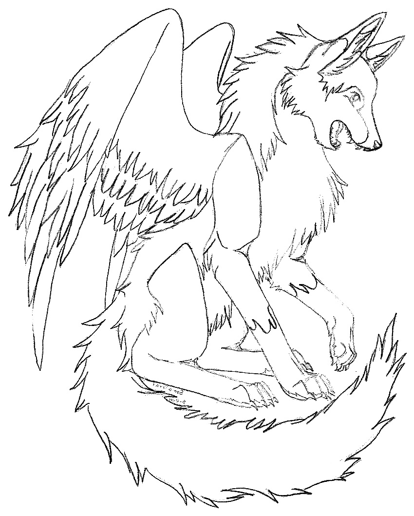850x1059 Winged Wolf Coloring Pages