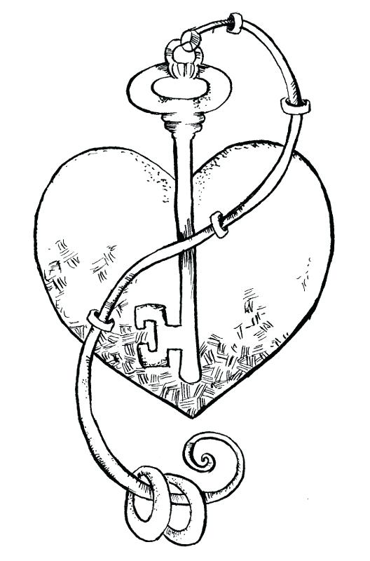 528x800 Heart And Key Coloring Pages