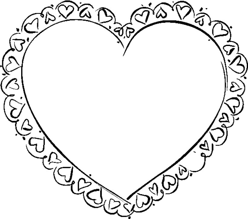 820x724 Valentine Heart To Color Valentines Heart Coloring Pages
