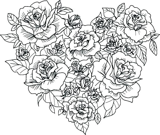 618x522 Coloring Page Heart Coloring Page Heart Coloring Pages Of Roses