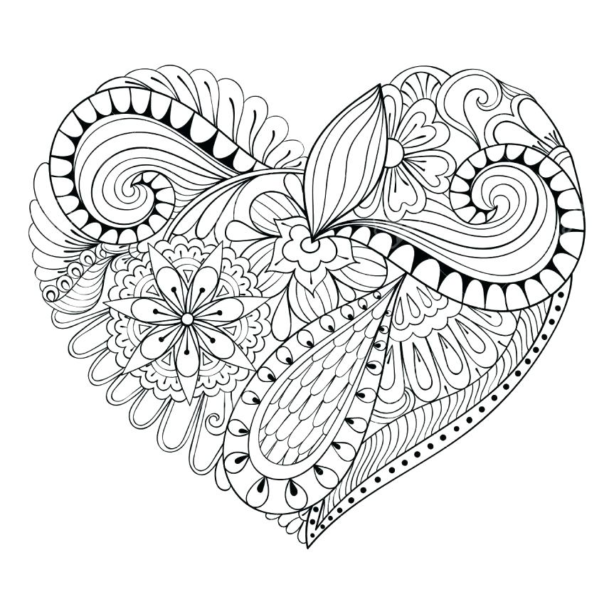 Heart Coloring Pages For Adults At Getdrawings Com Free