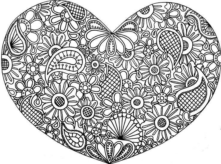 736x545 Abstract Heart Coloring Pages Coloring Pages