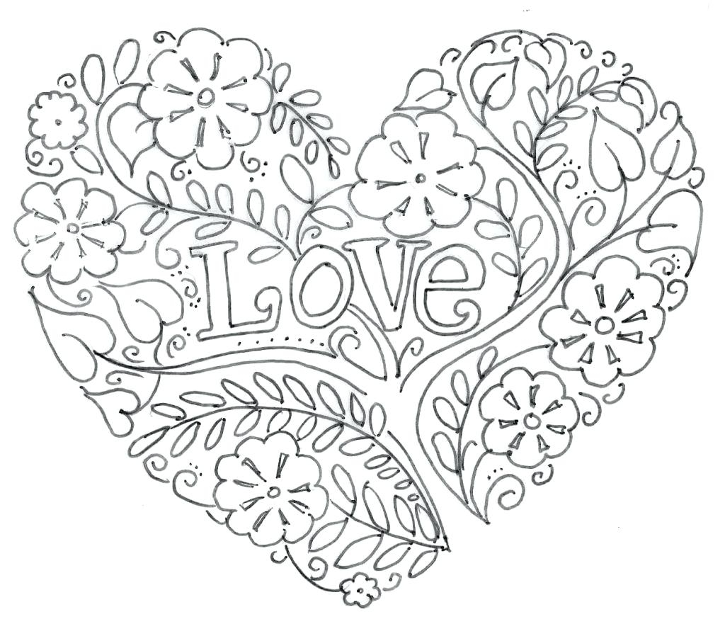 1024x881 Awesome Coloring Valentine Heart Coloring Page Free Coloring