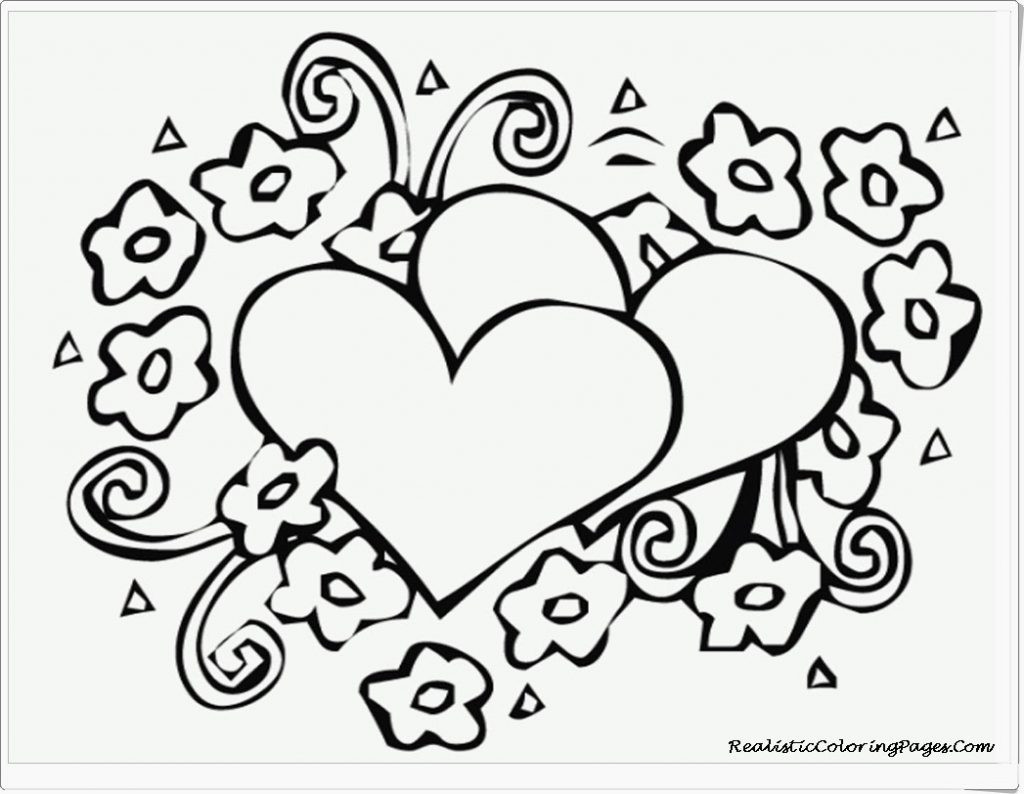 1024x794 Heart Coloring Pages To Print Out Fair Love Free Printable