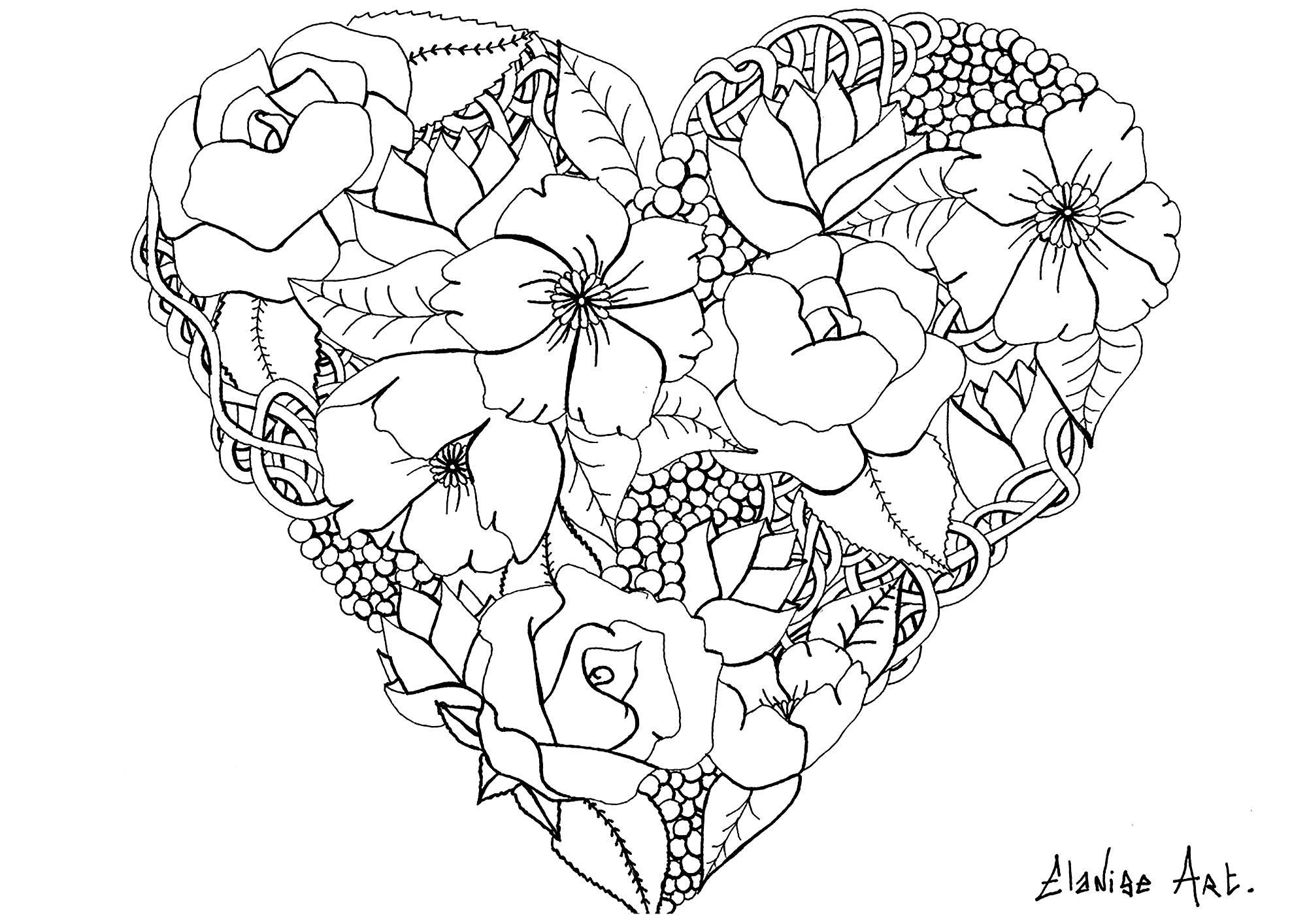 Heart Flower Coloring Pages