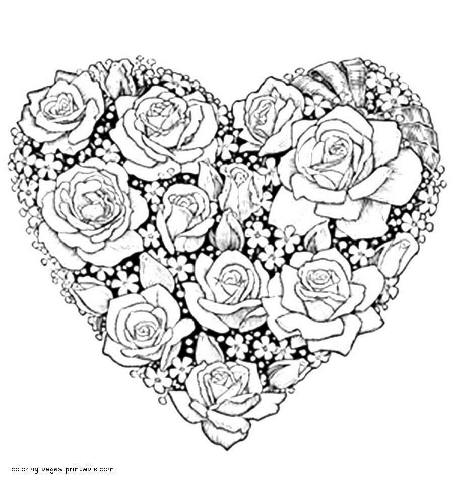 Coloring Pictures Of Flowers And Hearts - Flowers Healthy