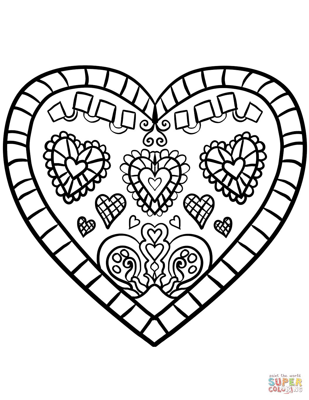 1053x1363 Decorated Heart Coloring Page For Free Heart Coloring Pages