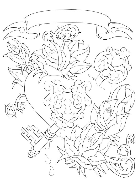 578x750 Heart And Key Coloring Pages