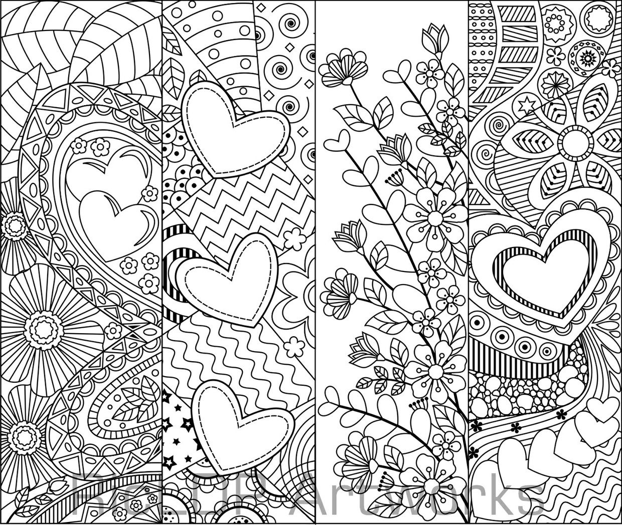 Heart Pattern Coloring Pages