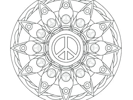 440x330 Peace Sign Coloring Page Cool Peace Sign Coloring Pages Page First