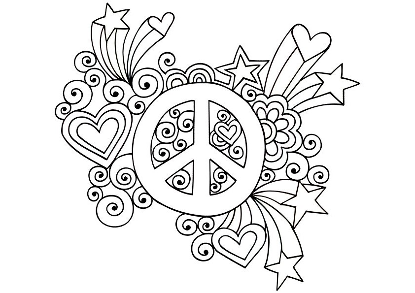 842x595 Peace Sign Coloring Pages