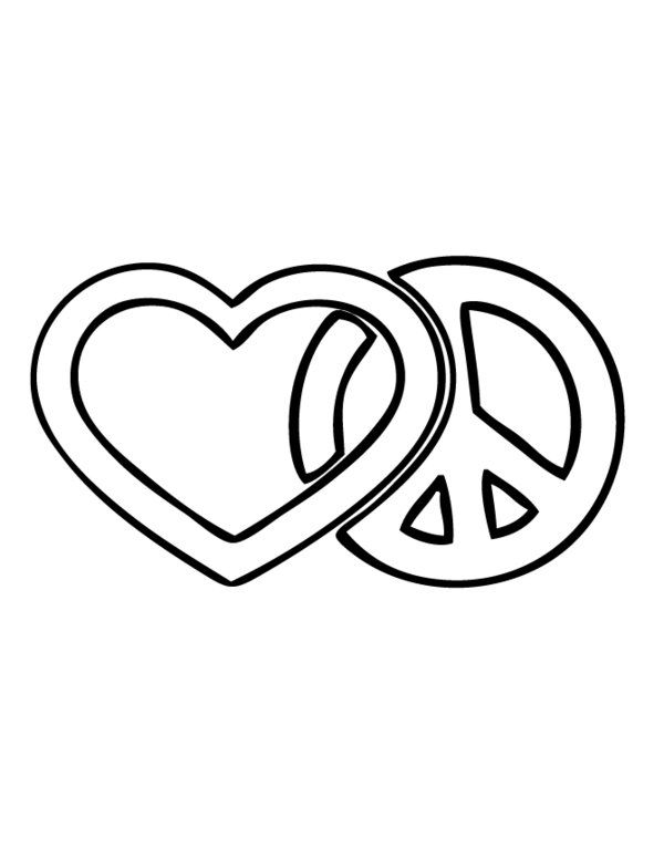 Heart Peace Sign Coloring Pages At Getdrawings Com Free For